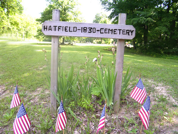 SJF Hatfield Cemetery sign