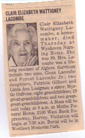 Clair Elizabeth <i>Wattigney</i> LaCombe