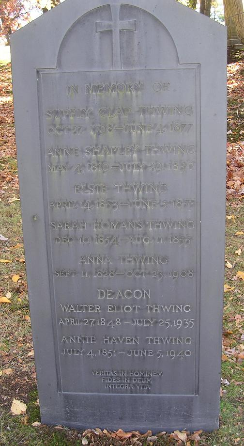 Thwing Family headstone at Forest Hills