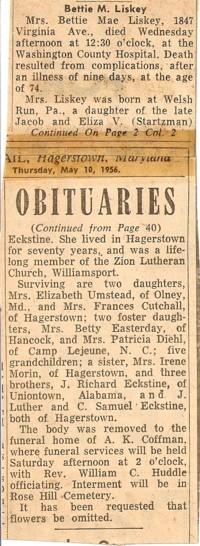 Bettie Mae <i>Eckstine</i> Liskey