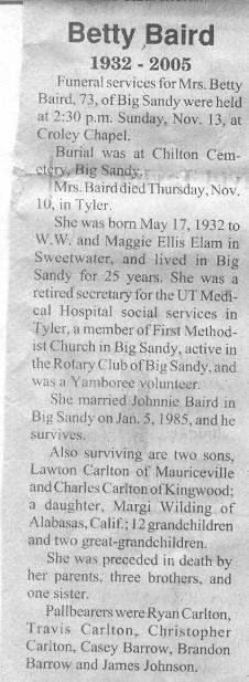 Betty Sue <i>Elam</i> Baird