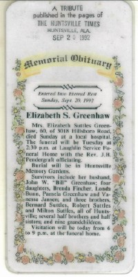 Elizabeth Ollie <i>Suttles</i> Greenhaw