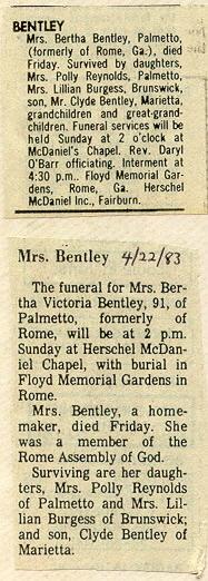 Bertha Victoria <i>Daughtry</i> Bentley