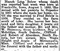 Blanche Lena <i>Simmons</i> Below