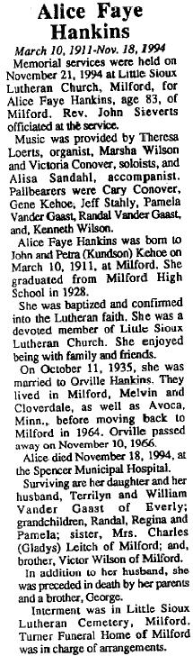 Alice Faye <i>Kehoe</i> Hankins