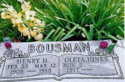 Oleta B. <i>Hines</i> Bousman