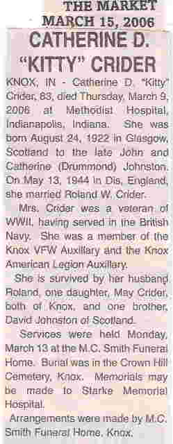 Catherine D. Kitty <i>Johnston</i> Crider