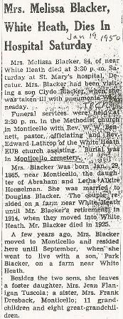 Melissa <i>Honselman</i> Blacker