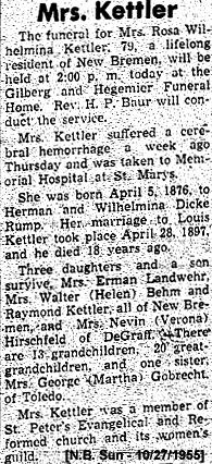 Rosa W <i>Rump</i> Kettler