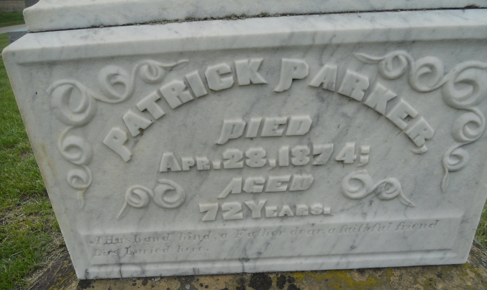 Grave marker for Patrick Parker in Saint Mary's Cemetery, Franklin County Iowa