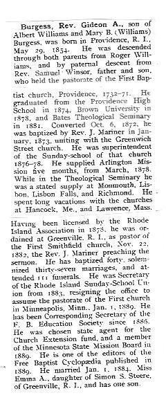 Rev Gideon A. Burgess