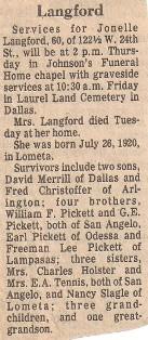 JoNell Merrill Christoffer <i>Pickett</i> Langford