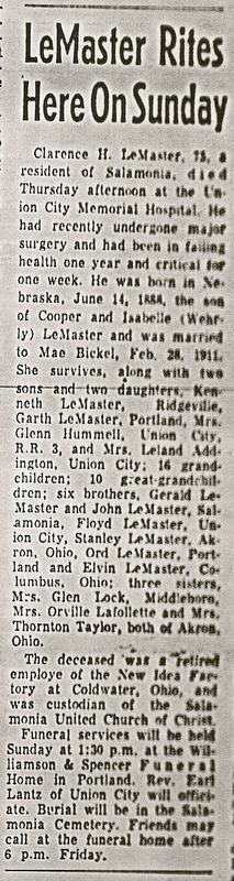 Clarence H LeMaster