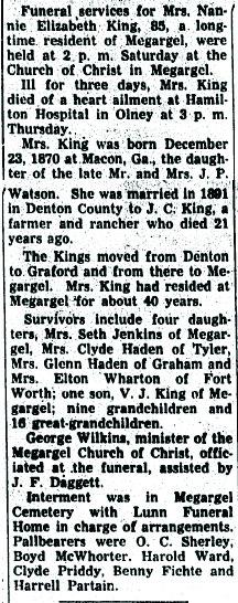 Nannie Elizabeth <i>Watson</i> King