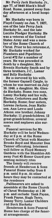 Percy Jack Huckaby, Jr