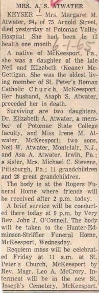 Margaret M. <i>McGettigan</i> Atwater