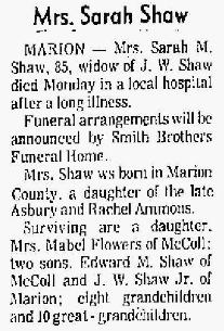 Sarah Martha <i>Ammons</i> Shaw