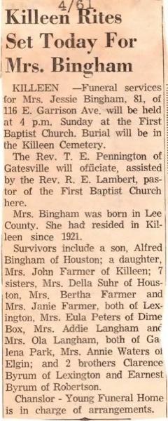 Jessie O. <i>Byrum</i> Bingham