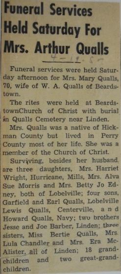 Mary Selina <i>Barber</i> Qualls