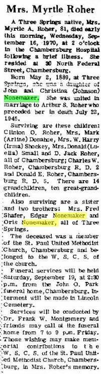 Myrtle A <i>Nonemaker</i> Roher