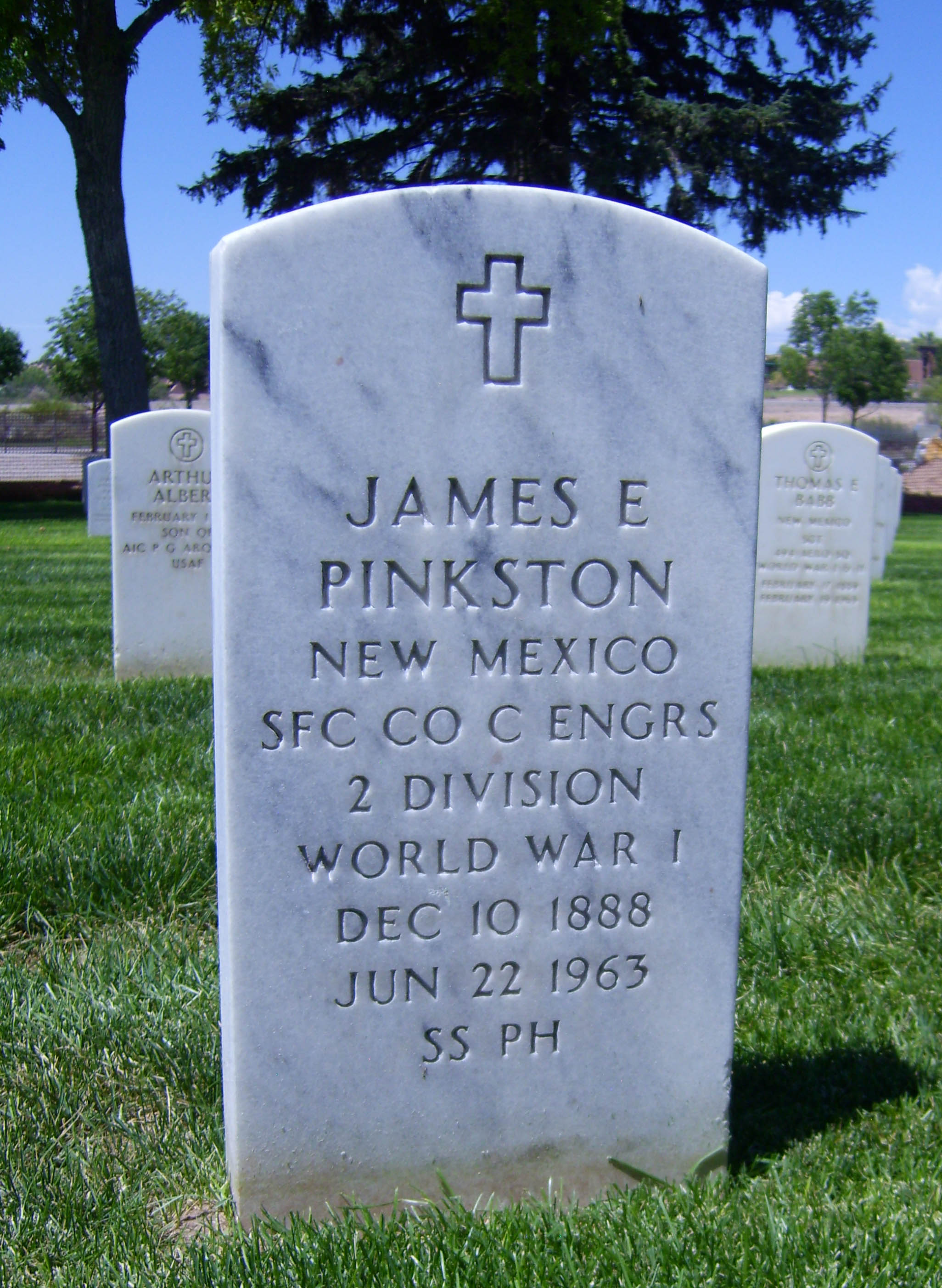 Grave of James E. Pinkston in New Mexico