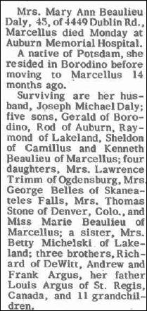 Mary Ann <i>Beaulieu</i> Daly