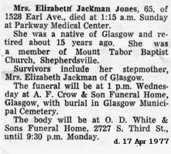 Elizabeth B <i>Jackman</i> Jones