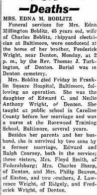 Edna Millington <i>Wright</i> Boblitz