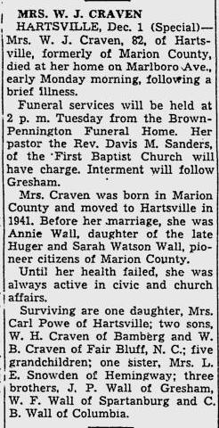 Annie J. <i>Wall</i> Craven
