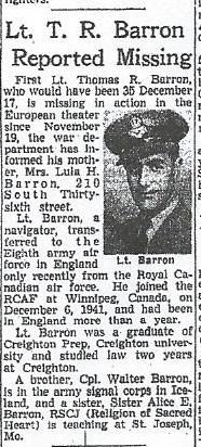 1Lt Thomas R Barron
