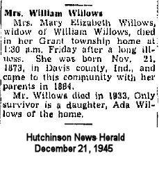 Mary Elizabeth <i>Gillock</i> Willows