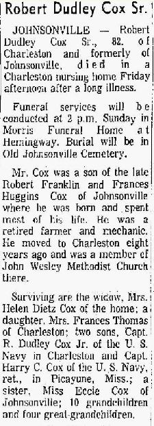 Robert Dudley Cox, Sr