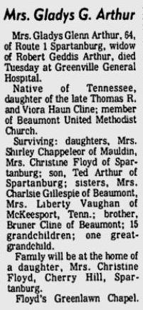 Gladys <i>Cline</i> Arthur