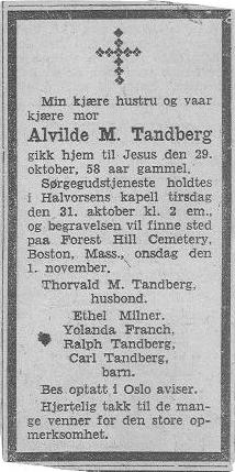 Alvilde Marie Magdalene <i>Naess</i> Tandberg