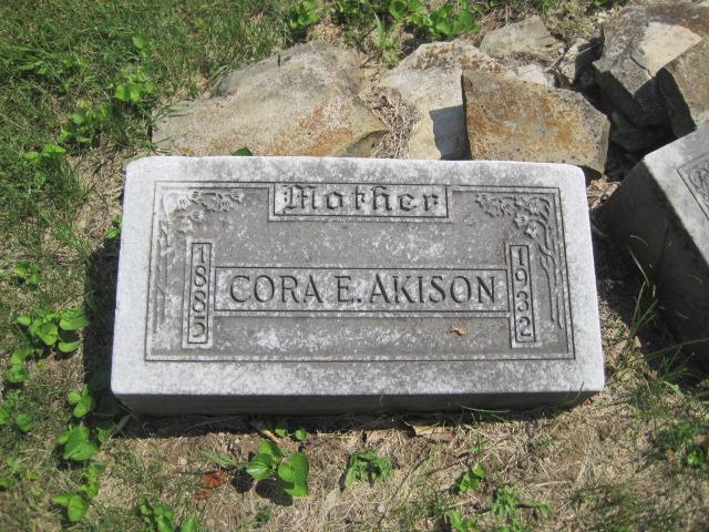 Cora E Schultz Akison gravestone