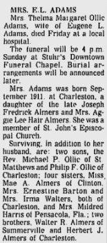 Thelma Margaret <i>Almers</i> Adams