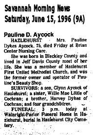 Pauline <i>Dykes</i> Aycock