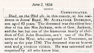 obit for Alexander Donelson