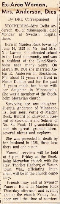 Delia Christina <i>Larson</i> Anderson