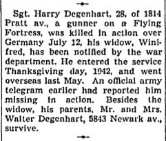 Sgt Harry Irving Degenhart