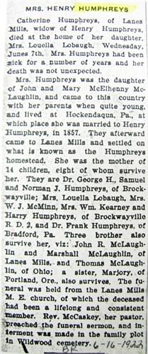 Catherine <i>McLaughlin</i> Humphreys