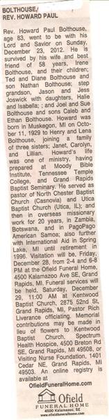 Rev Howard Paul Bolthouse