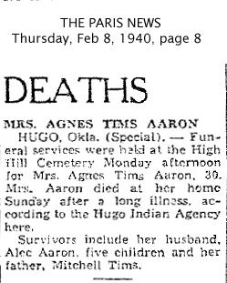 Agnes <i>Tims</i> Aaron