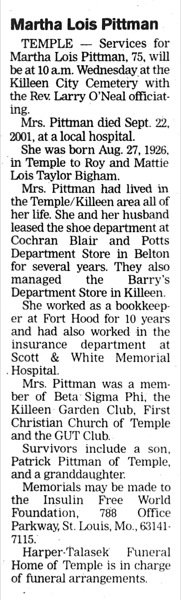 Martha Lois <i>Bigham</i> Pittman