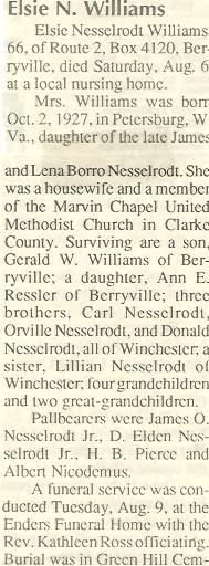 Elsie Irene <i>Nesselrodt</i> Williams