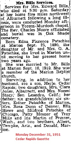 Edna Florence <i>Patschke</i> Bills