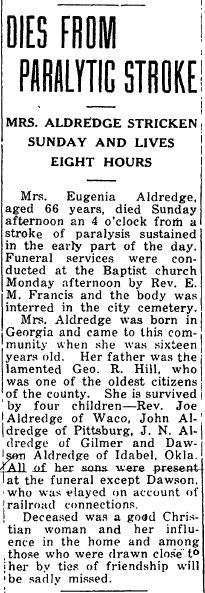 Mrs Eugenia Bailey Jennie <i>Hill</i> Aldredge