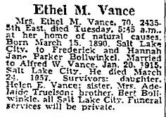 Ethel May <i>Bollwinkel</i> Vance