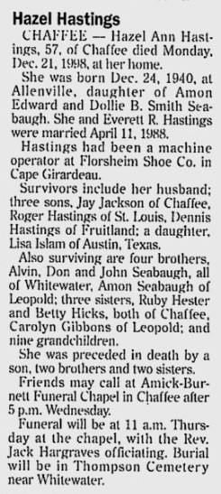 Hazel Ann <i>Seabaugh Jackson</i> Hastings