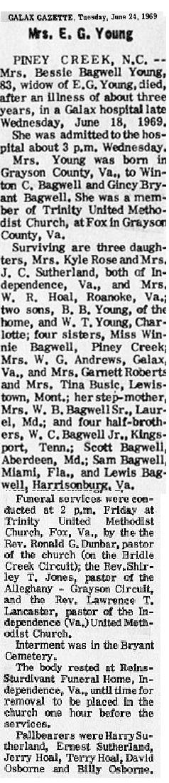 Bessie B. <i>Bagwell</i> Young